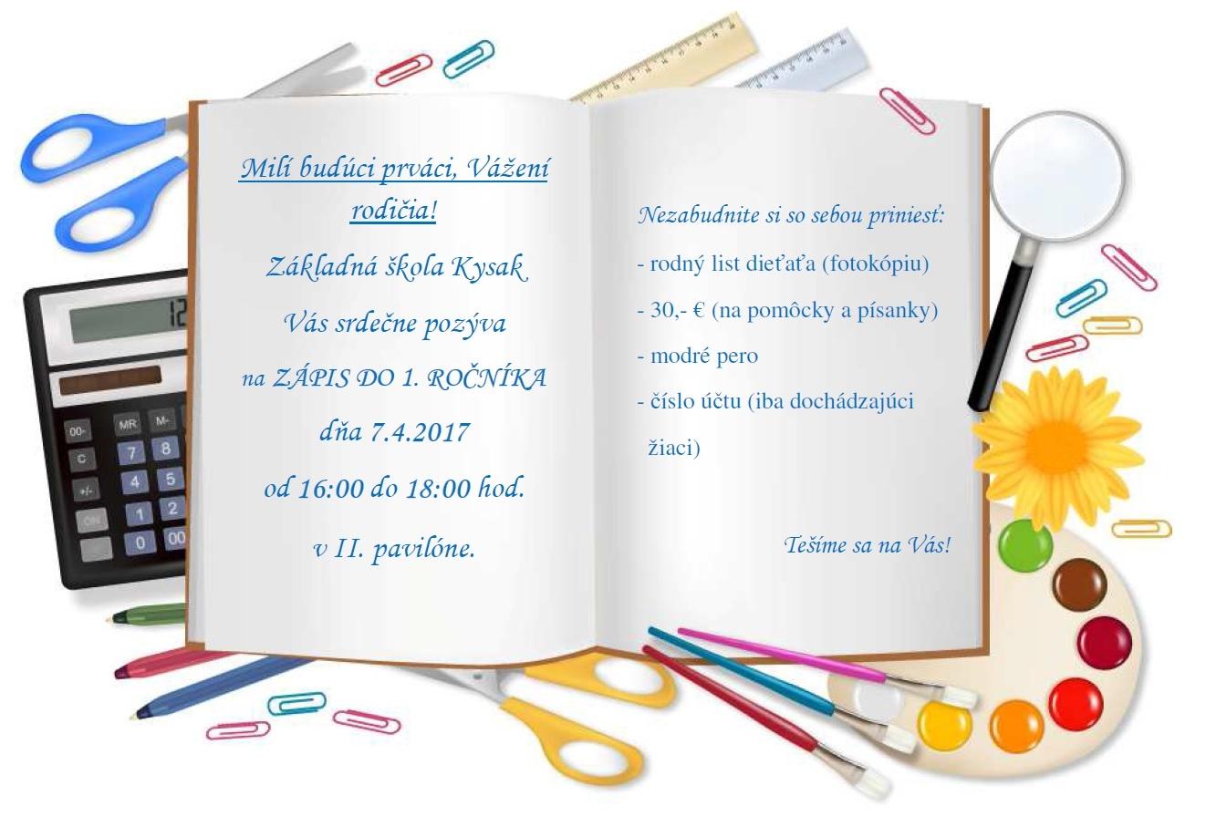 3409e33960 Zápis do 1. ročníka ZŠ Kysak